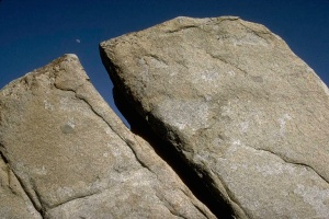 granite and moon, Sierra Nevada, California.