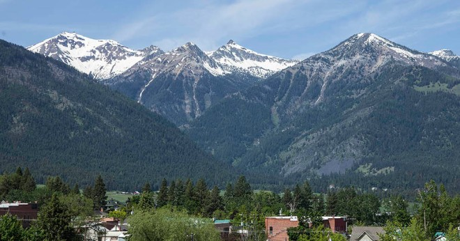 The Wallowa Mountains rise along a fault zone just south of the town of Joseph.