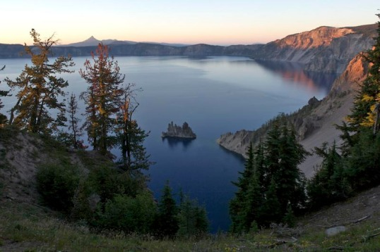 Phantom Ship, in Crater Lake's southeast corner, is made of the caldera's oldest known rock, at 400,000 years old.