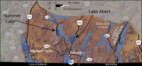 Distribution of Pleistocene lakes in the southern Oregon Basin and Range.