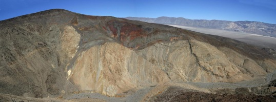 View of canyon wall on west side of Panamint Valley in SE California --part of Death Valley National Park.  See photo below for interpretation.