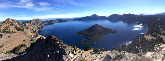 Crater Lake occupies the caldera of Mt. Mazama, which erupted catastrophically some 7700 years ago.