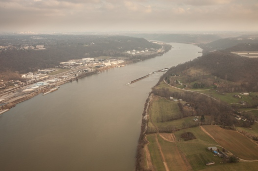 Looking up the Ohio River from the air --near where Ohio, Kentucky, and Indiana meet.