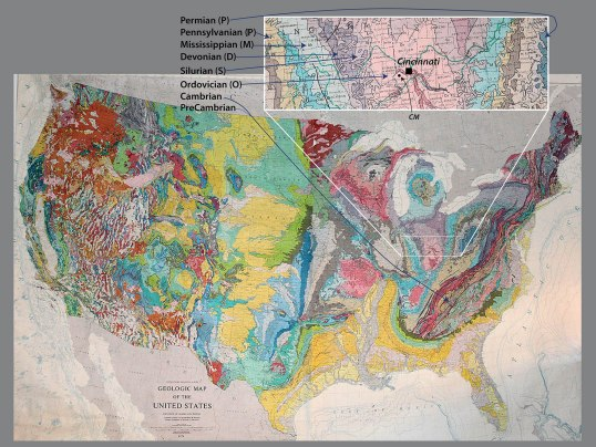 "Geologic map of the United States; the area around Cincinnati is enlarged.  ""CM"" shows the approximate location of the Creation Museum."