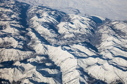 Glacial valleys and frontal fault zone on the north side of the Wallowa Mountains, Oregon.