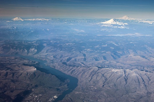 Looking north over the Dalles to Mts. St Helens, Rainier, and Adams.