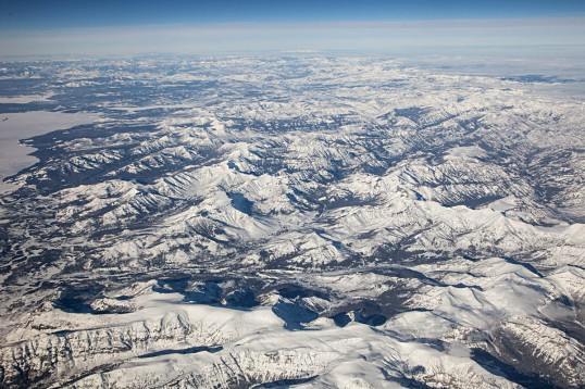 Absaroka Range, east edge of Yellowstone Lake on left.