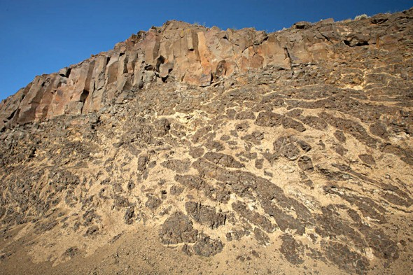 Photo G. Single flow of Wanapum Basalt near The Dalles, Oregon.