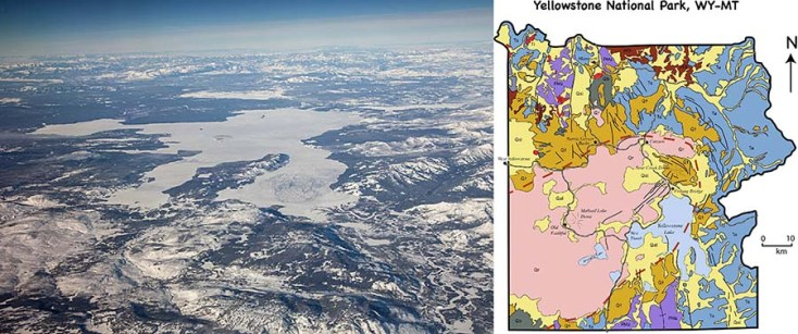 Photo and geologic map of Yellowstone National Park