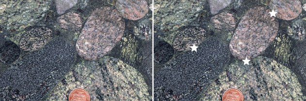 cobbles, impinging into each other. Stars on right photo show locations.