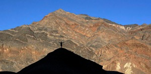 Hiker in the Funeral Mountains of Death Valley.