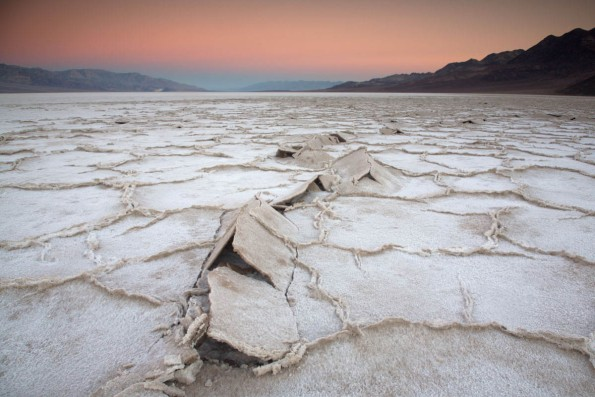 Death Valley salt pan at sunrise.