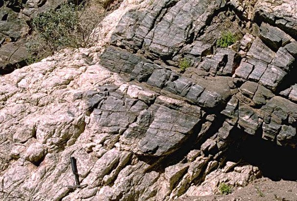 pegmatite dike and sill intruding mylonitic gneiss