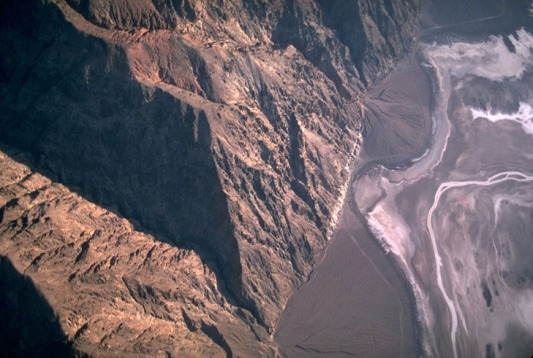 Aerial view of faulted front of the Black Mountains.