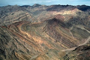 Aerial view of Titus Canyon Anticline.