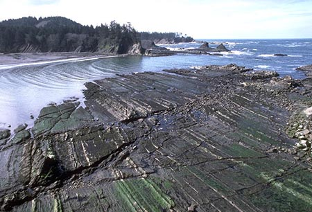 Wave-cut bench, Sunset Bay, Oregon