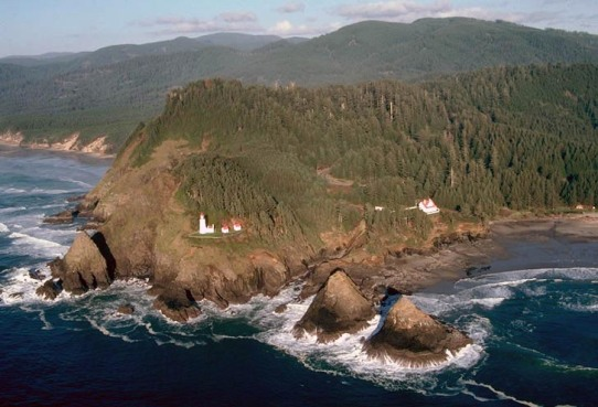 Headland and lighthouse, Heceta Head, Oregon