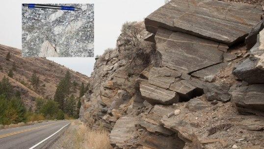 Mylonitic rocks along Okanogan Dome, Washington (150803-49inset)