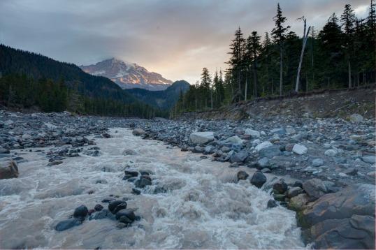 Nisqually River and Mount Rainier, Washington (151017-1)