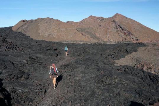 Pahoehoe basalt and cinder cone, Mauna Loa