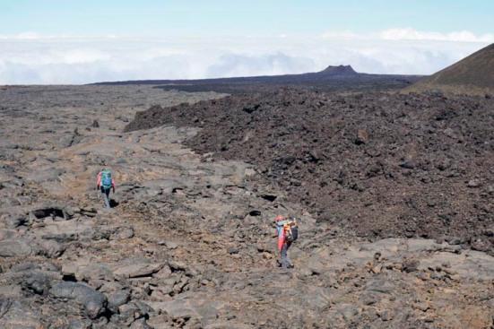 Pahoehoe and aa basalt, Mauna Loa