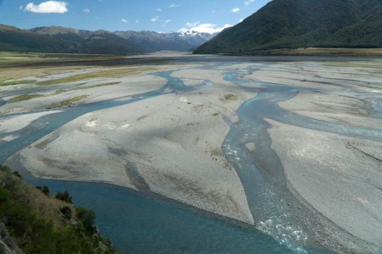 Braided river and gravel bars, New Zealand