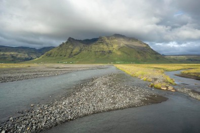 Gravel bar in braided river, Iceland.