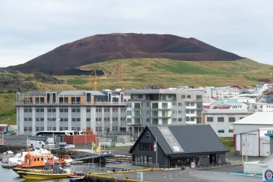 Eldfell cinder cone and Heimaey, Iceland