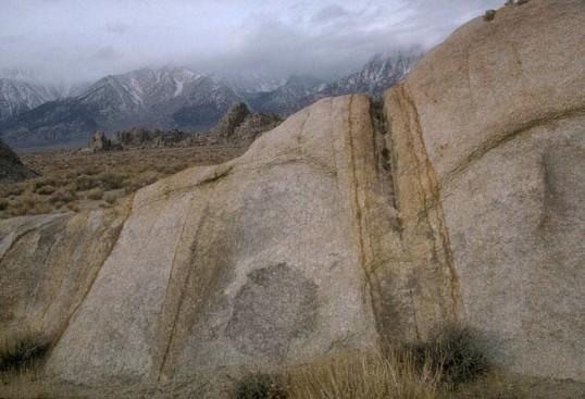 Groundwater staining along fractures in granite, Sierra Nevada,